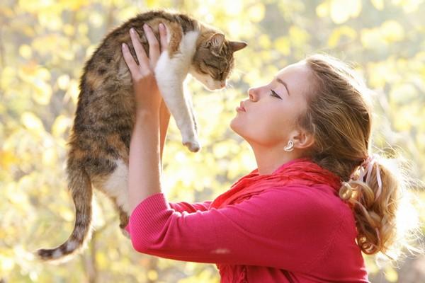 beautiful woman and pet