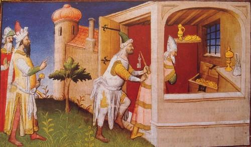 Caliph Al-Musta'sim among his treasures