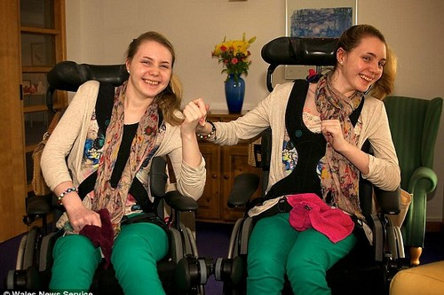 Twins Catherine and Kirstie at home in Llanelli