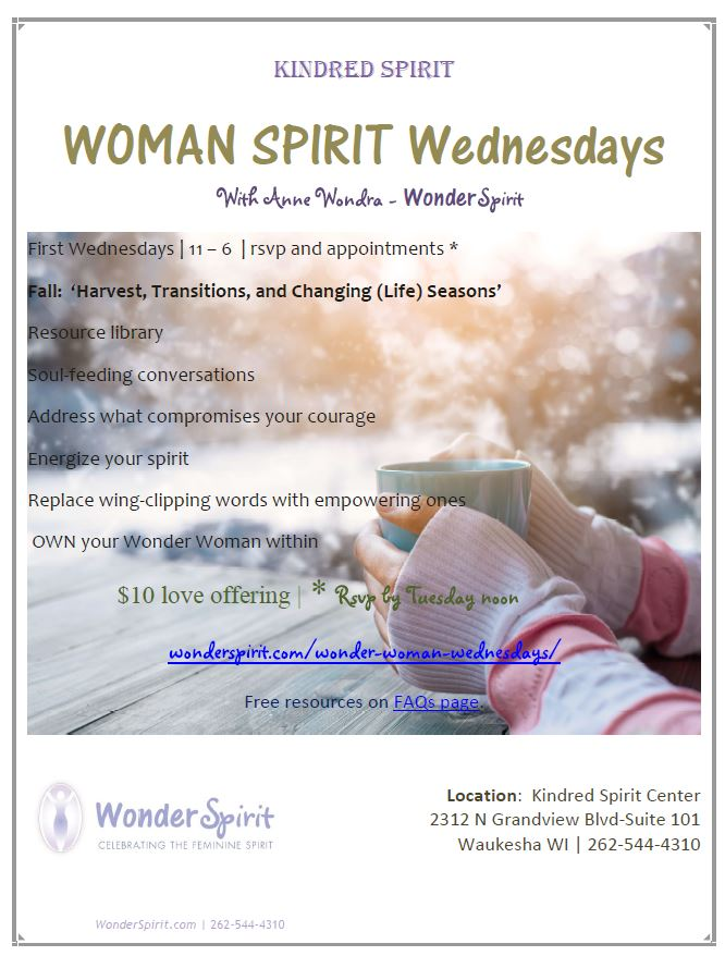 Woman Spirit Wednesdays at Kindred Spirit Center, Waukesha