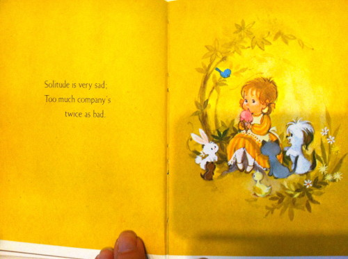 Cindy's Mama sent her this little book in her birthday package. It is a book of proverbs and serves as proof that an attempt to raise Cindy right was made. The pictures were the best part and CIndy clearly remembers being jealous of this little gal's pigtails and big ice cream cone.