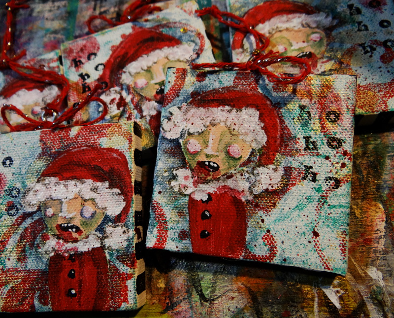 Zombie Christmas: Gelli Printed Canvas Ornaments – wonderstrange arts