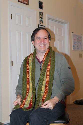 Stephen Wearing Star Trek Scarf