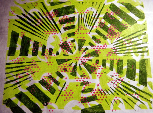 gelli print on tyvek