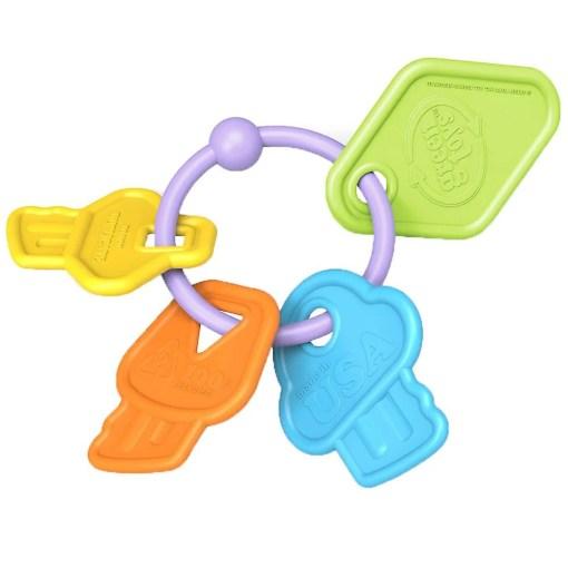eerste sleutels rammelaar, green toys, baby speelgoed, wonderzolder.nl