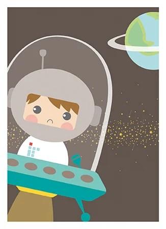 Poster astronaut van Papiergoed