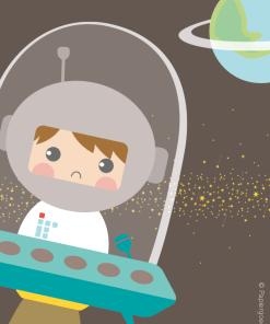 Papiergoed-Uitnodiging kinderfeestje-Astronaut