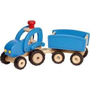 Trekker met kar van Goki - blauwe tractor -wonderzolder.nl