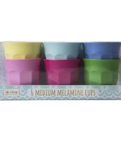 Set gekleurde bekers Medium, RICE, Melamine -wonderzolder.nl