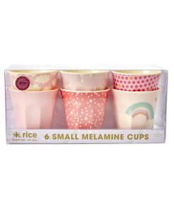 Set bekers rainbow small RICE, Roze bekers melamine -wonderzolder.nl