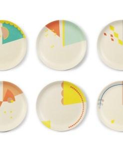 Set cake bordjes 'Print' -Engel. Taartbordjes bamboe cake plate enkelpunt -wonderzolder.nl