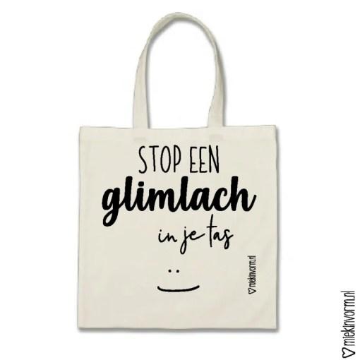 Canvas tas, Shopper, MIEKinvorm, stop een glimlach in je tas -wonderzolder.nl
