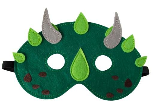 Donker groen, dino, vilten dino masker, global affairs, wonderzolder.nl