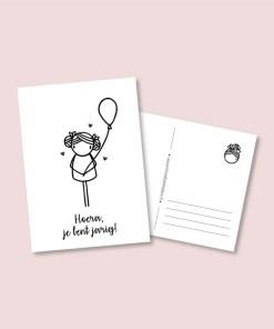 kaart ballon meisje, feest, verjaardag, irmadammekes, wonderzolder.nl