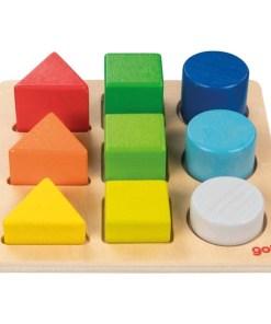 sorteerbord van Goki, Goki, vormen en kleuren sorteren, babyspeelgoed, wonderzolder.nl