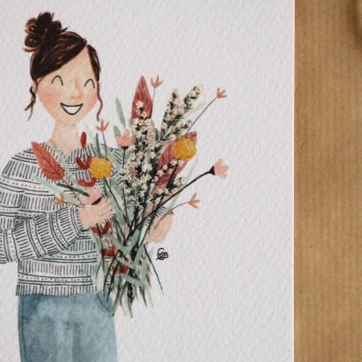Kaart bos bloemen, bloemen bos, cadeau, carmens tekentafel, aquarel, wonderzolder.nl