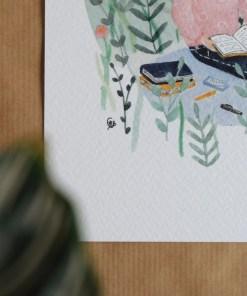 Mini poster in de natuur, lezen in de tuin, carmens tekentafel, muurdecoratie, wonderzolder.nl