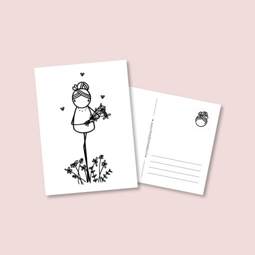 kaart zonder tekst, irmadammekes, bloemen meisje irmadammekes, kaart irmadammekes, wonderzolder.nl