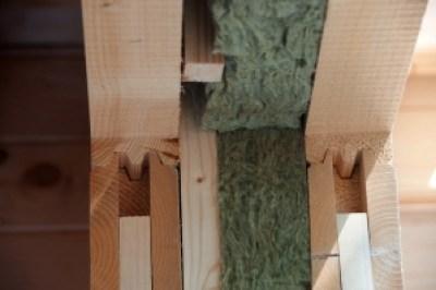 Dubbelwandig 70 mm houtstapelbouw met isolatie