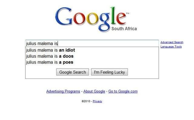 Julius Malema on google search photo