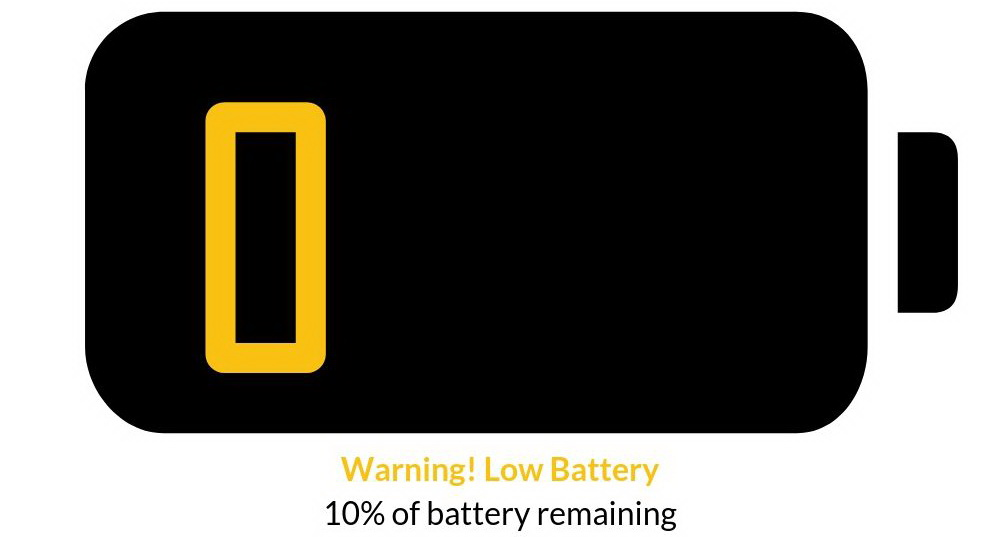 Warning Low Battery 10% of battery remaining Wood & Gems overspannen weinig energie