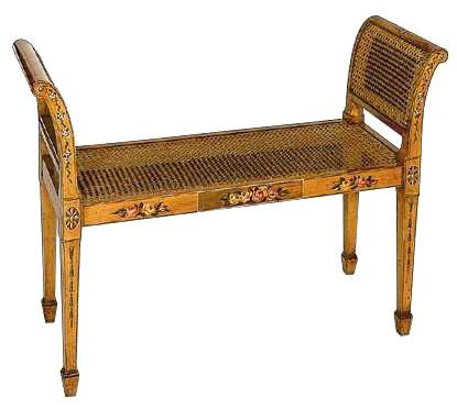 Sheraton Style Satinwood Hand Decorated Window Seat
