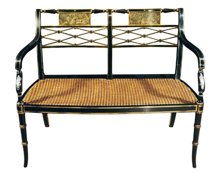 Sheraton Style Black Lacquered Settee