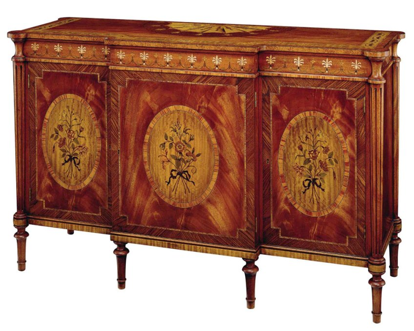Sheraton Style Mahogany and Marquetry Inlaid Credenza.