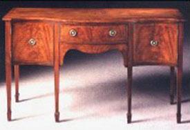 Mahogany Sheraton Style Serpentine Sideboard.