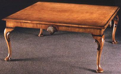 Burl Walnut Queen Anne Style Coffee Table.