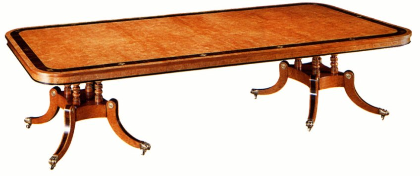 Regency Style Burr Maple Extending Table.