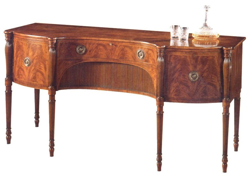 Regency Style Reverse Serpentine Shaped Mahogany Sideboard.