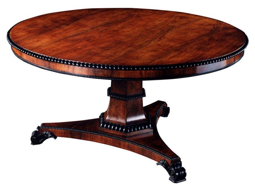 Rosewood Regency Style Circular Table.