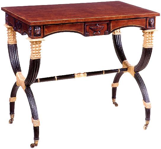 Regency Style Mahogany & Gilt Sofa Table.