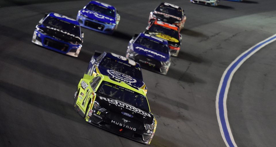 CONCORD, NORTH CAROLINA - MAY 28: Matt DiBenedetto, driver of the #21 Menards/Richmond Ford, leads a pack of during the NASCAR Cup Series Alsco Uniforms 500 at Charlotte Motor Speedway on May 28, 2020 in Concord, North Carolina. (Photo by Jared C. Tilton/Getty Images) | Getty Images