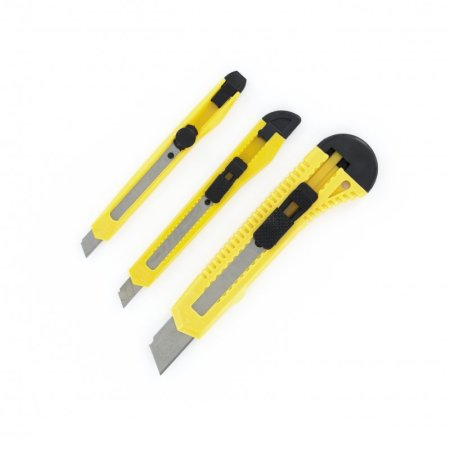 3 Pce Razor Knife Set [PKN1003] • 3 different sizes • Blades can be snapped off • Locking system