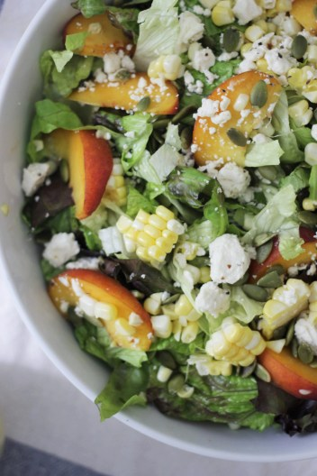 peach and corn salad with feta