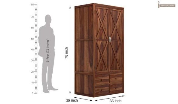 Buy Warner Multi Utility Wardrobe  Teak Finish  Online in India     Warner Multi Utility Wardrobe  Teak Finish  7