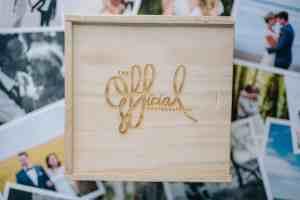 Wooden USB square box custom engraved lid