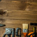 76748731 – set of hand tools on a wooden table