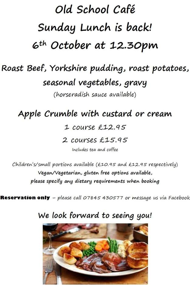 october sunday lunch at the old school cafe
