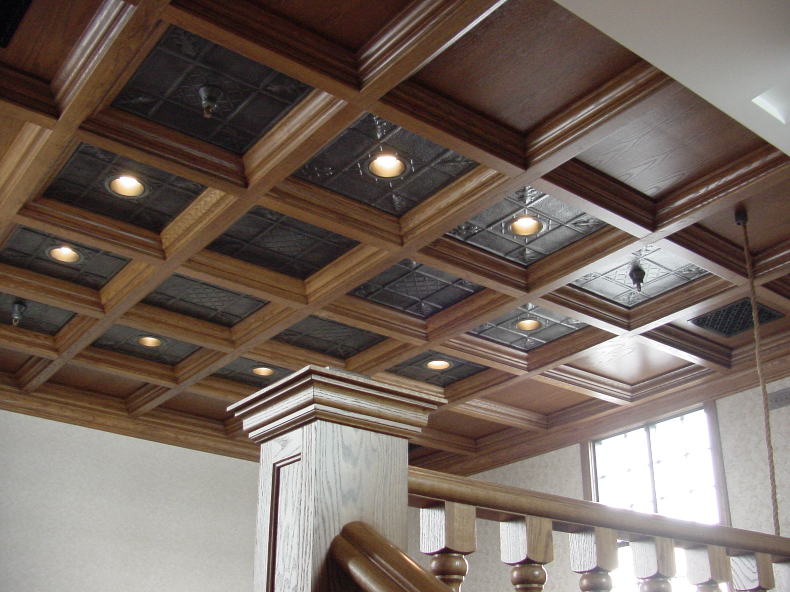 Wood Ceiling In Loft With Tin Panels Woodgrid Coffered
