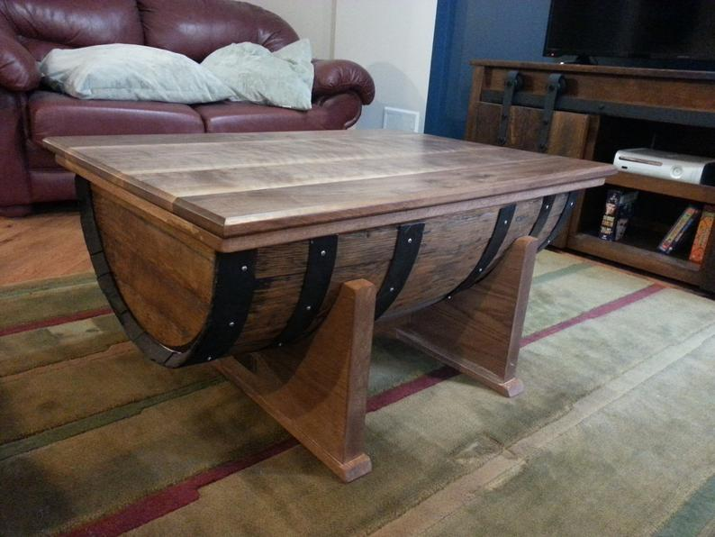 whiskey barrel rustic coffee table