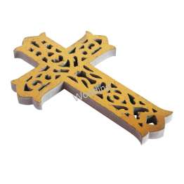 Woodino Jesus Christ Wooden Golden Cross