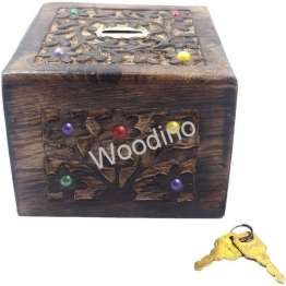 Woodino Antique Look Square Coin Box