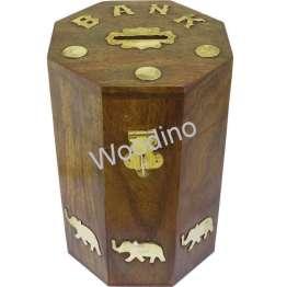 Woodino Octa Wooden Coin Bank