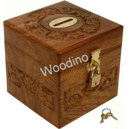 Woodino Square Shaped Wooden Money Bank