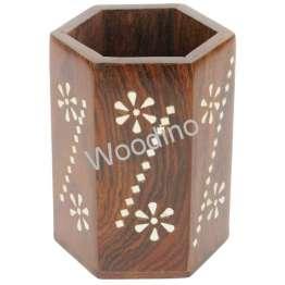 Woodino Sheesham Octa White Work Pen Jar