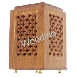 Woodino Wooden Jaali Brass Stand Points Pen Jar