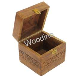 Woodino Wooden Carved Square Money Bank 4x4 Inch